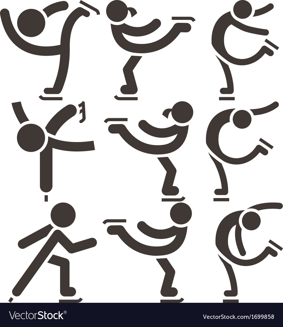 Figure skating icons vector | Price: 1 Credit (USD $1)