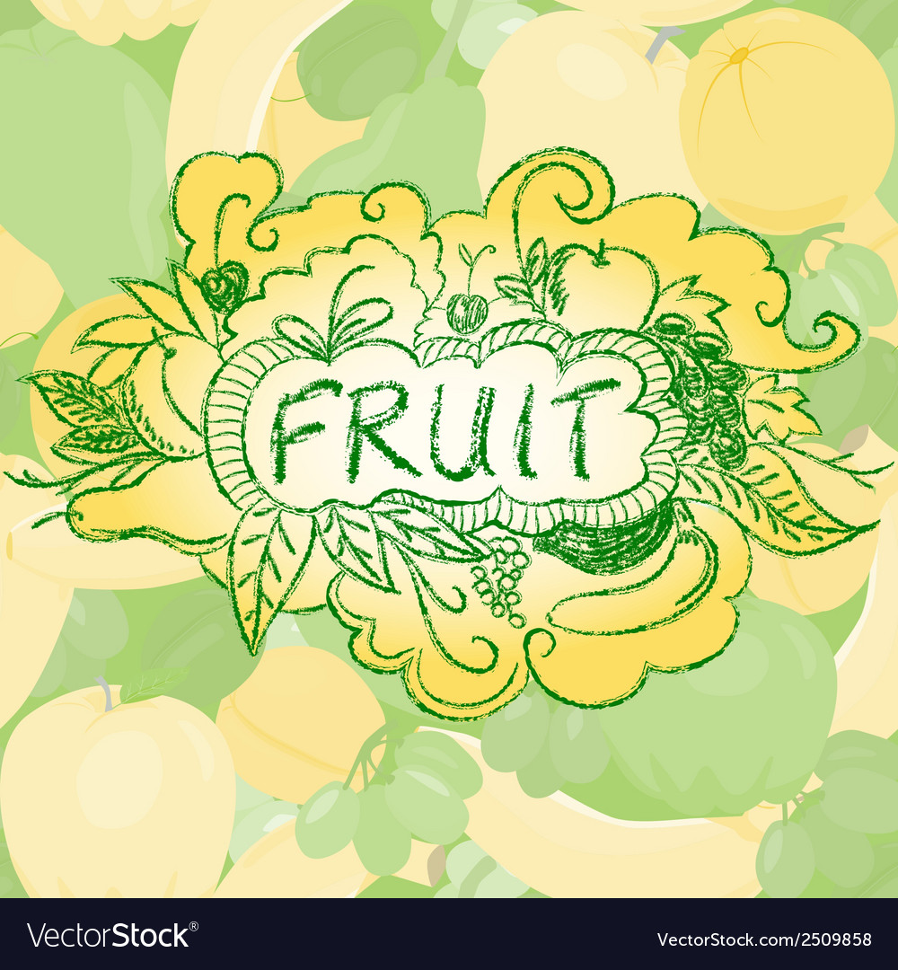 Fruit background with doodle elements vector | Price: 1 Credit (USD $1)