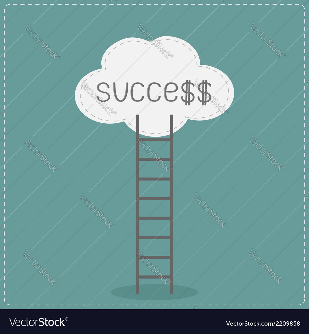 Ladder and cloud with word success flat design vector | Price: 1 Credit (USD $1)