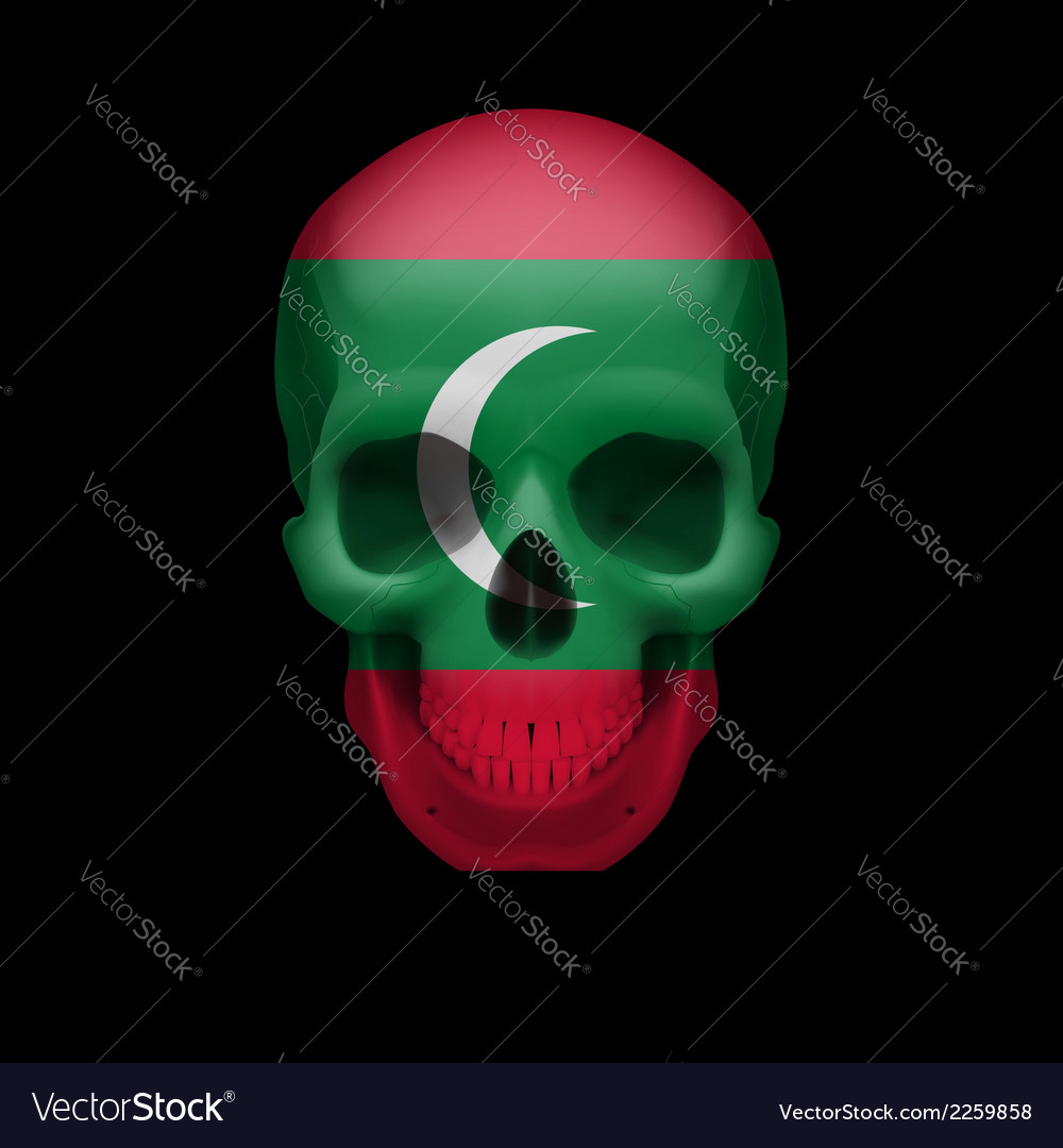 Maldivian flag skull vector | Price: 1 Credit (USD $1)