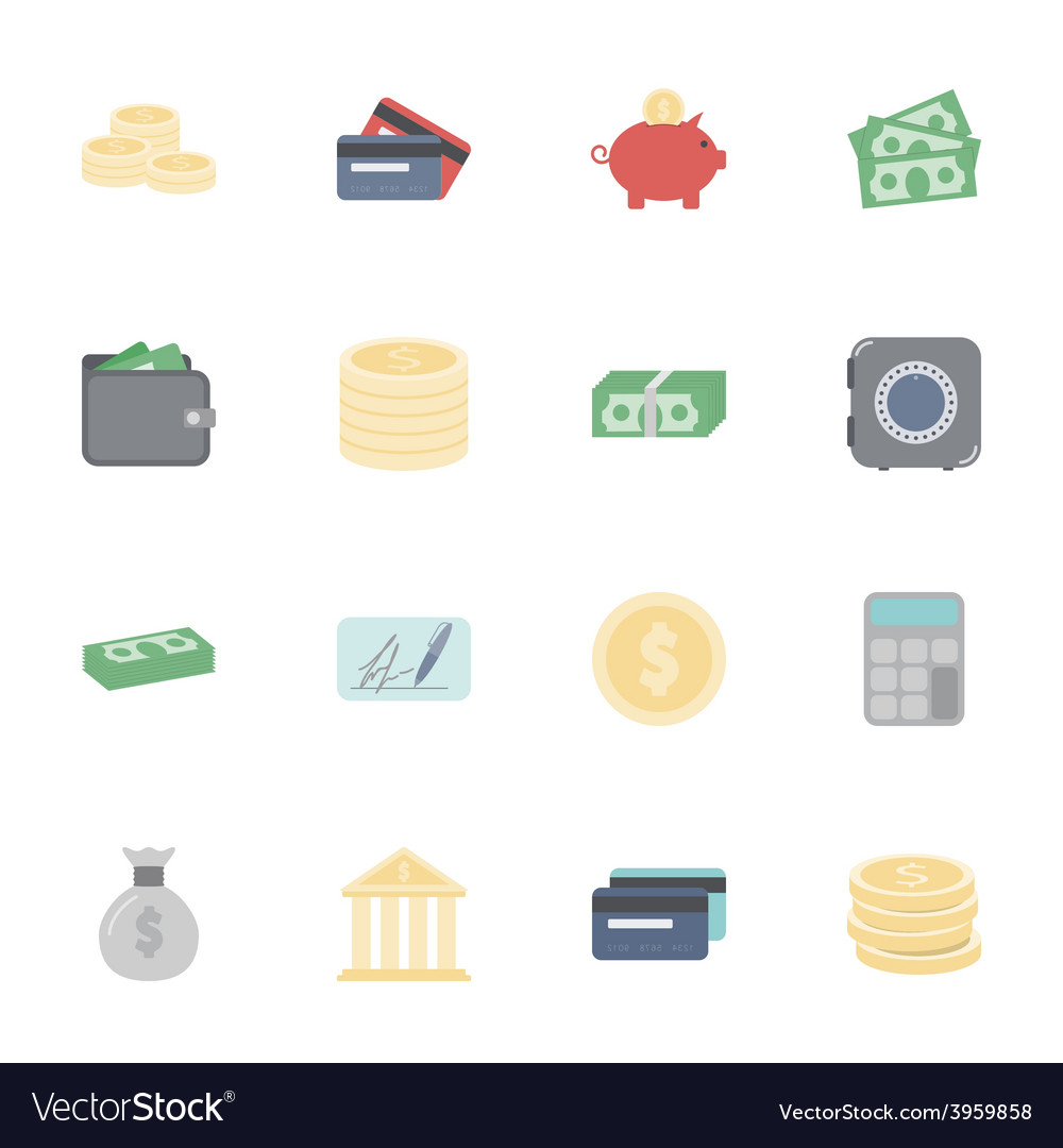 Money and financial flat icons set vector | Price: 1 Credit (USD $1)