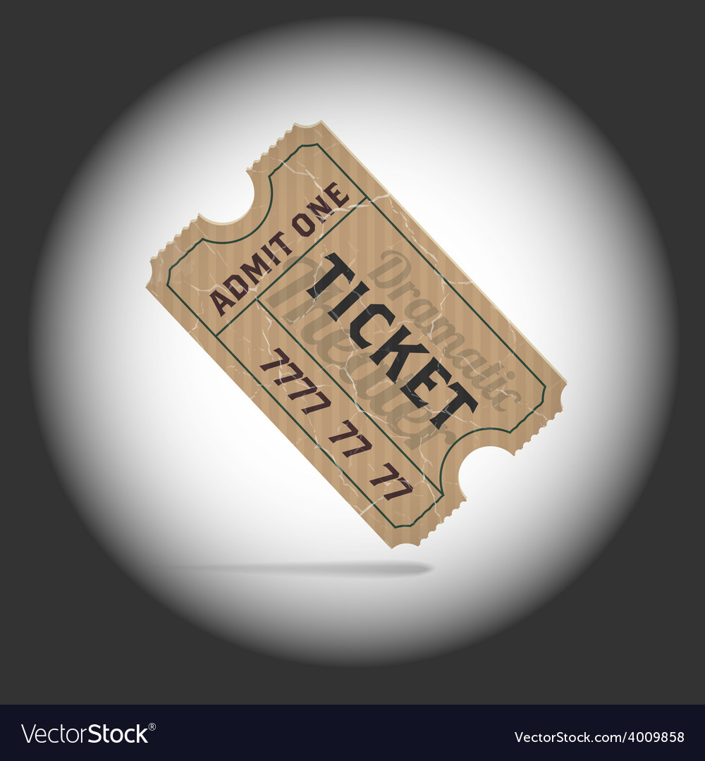 Old teathre ticket in projector light vector | Price: 1 Credit (USD $1)