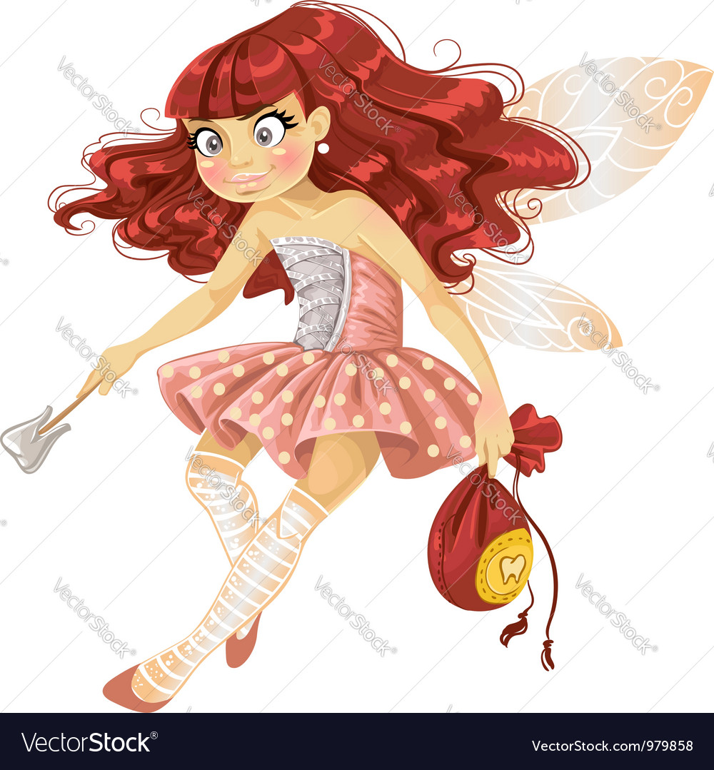 Pretty red haired tooth fairy in pink vector | Price: 3 Credit (USD $3)