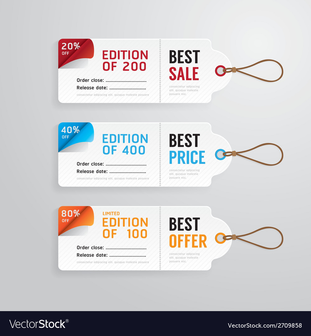 Sale banners price tag paper card template vector | Price: 1 Credit (USD $1)
