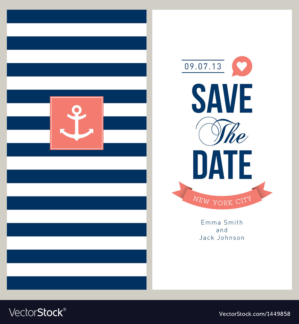 Save the date sailor theme vector | Price: 1 Credit (USD $1)