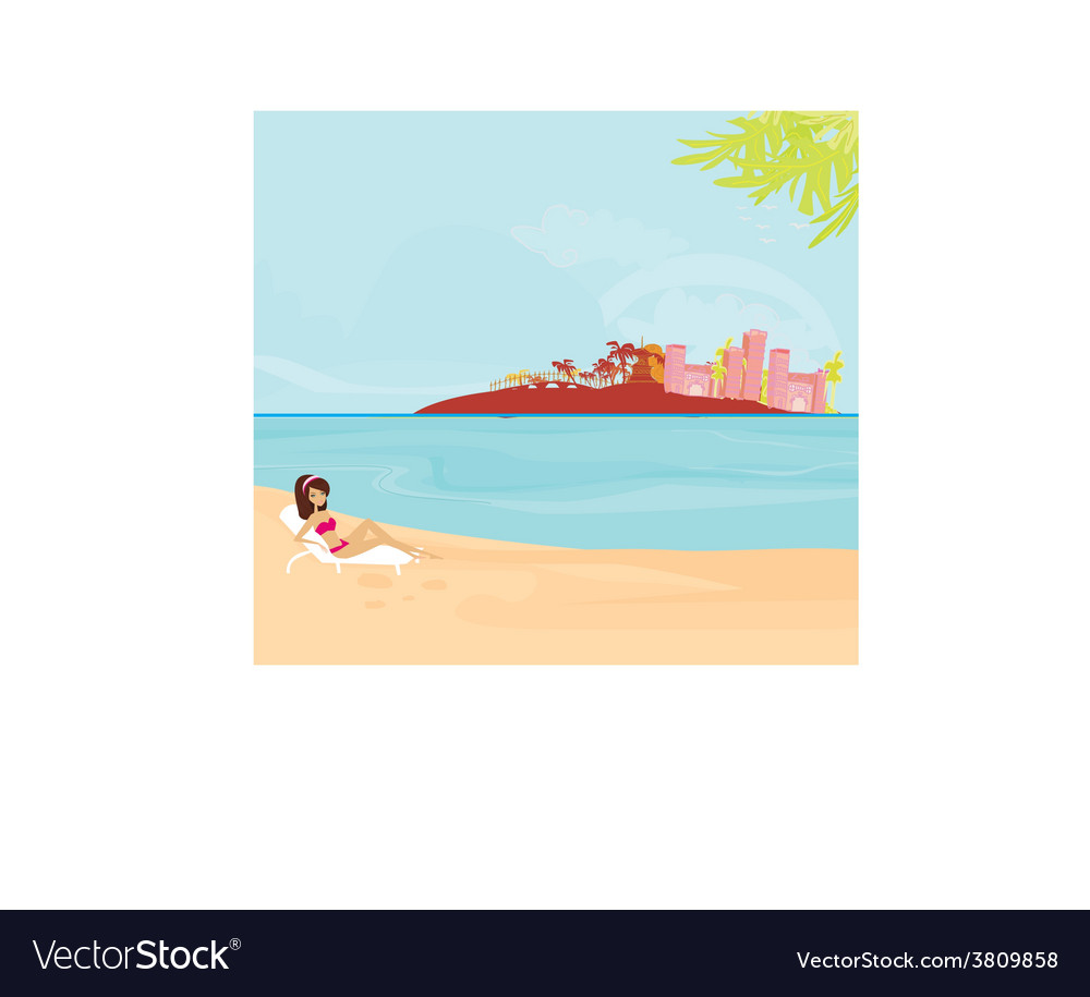 Summer beach girl on vacation vector | Price: 1 Credit (USD $1)