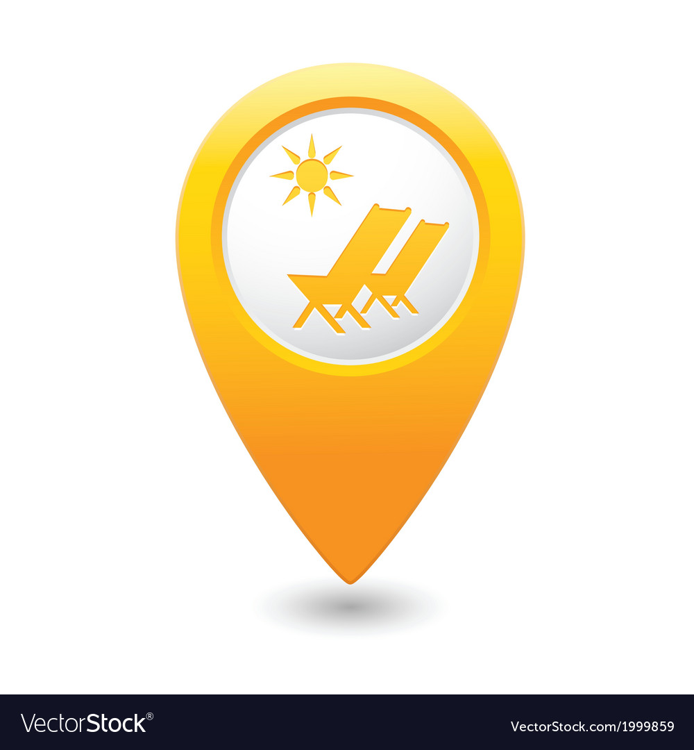 Beach chair symbol yellow map pointer vector | Price: 1 Credit (USD $1)