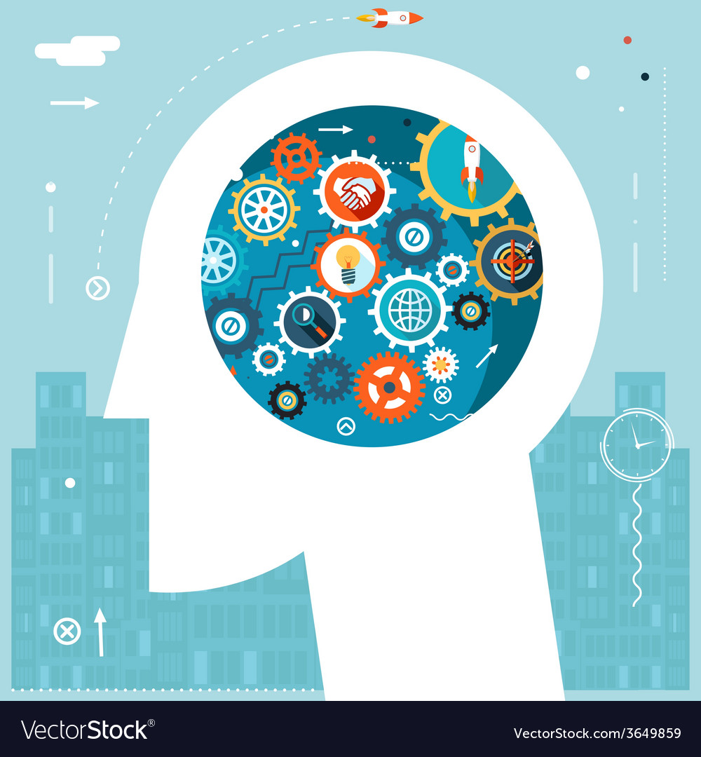 Businessman head idea generation gear wheel icons vector | Price: 1 Credit (USD $1)