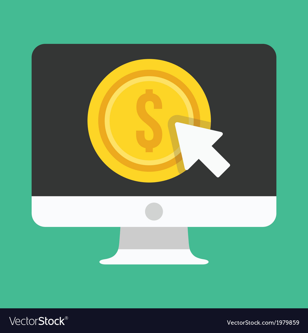 Computer display pay per click icon vector | Price: 1 Credit (USD $1)