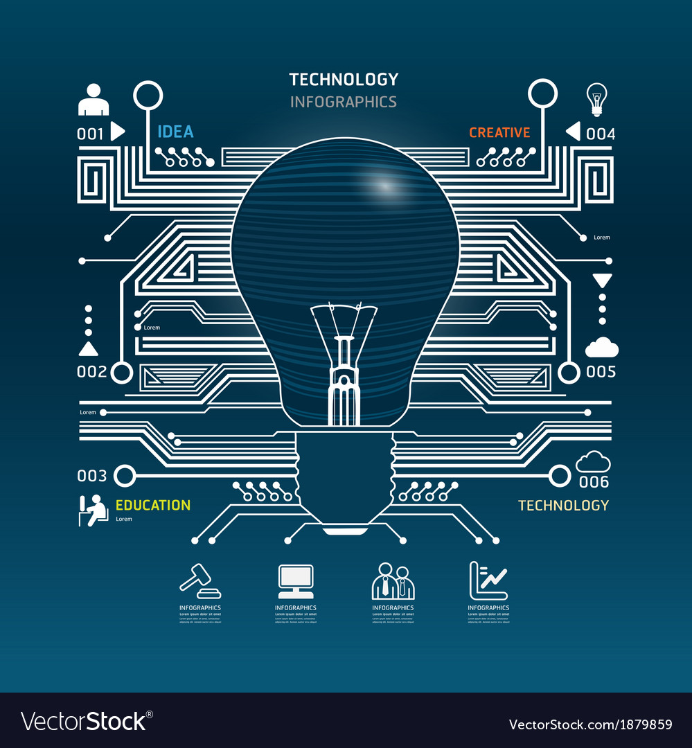 Creative light bulb abstract circuit technology vector | Price: 1 Credit (USD $1)