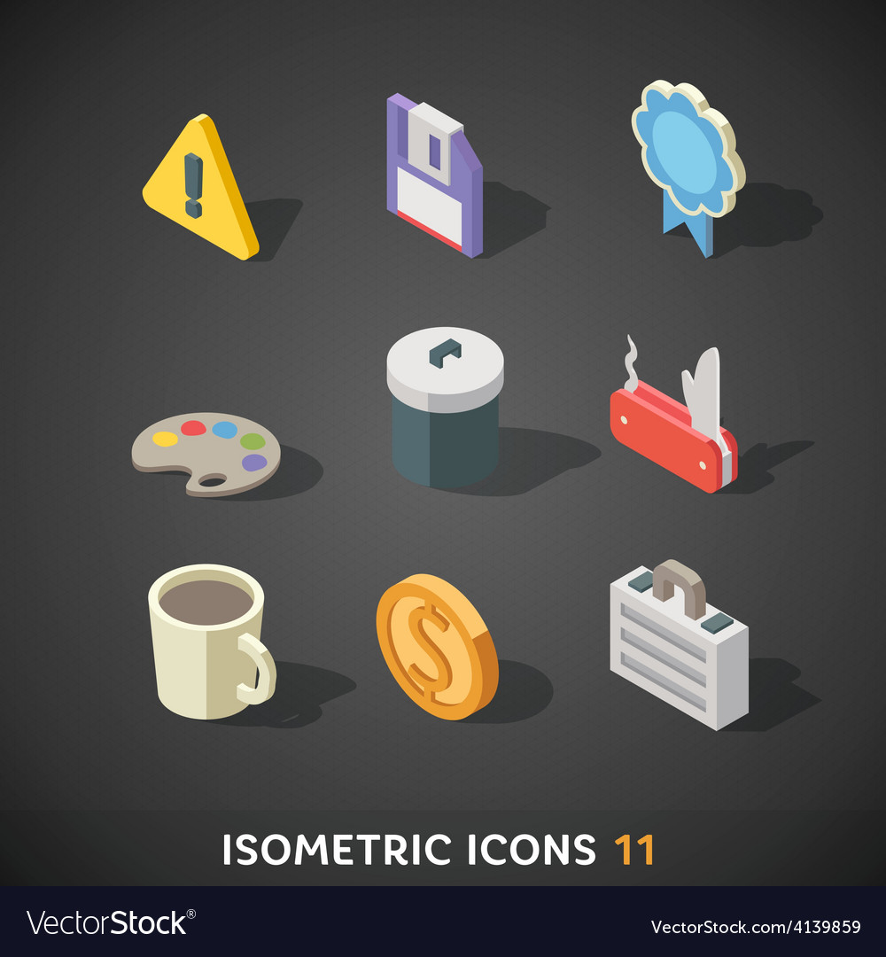 Flat isometric icons set 11 vector | Price: 3 Credit (USD $3)