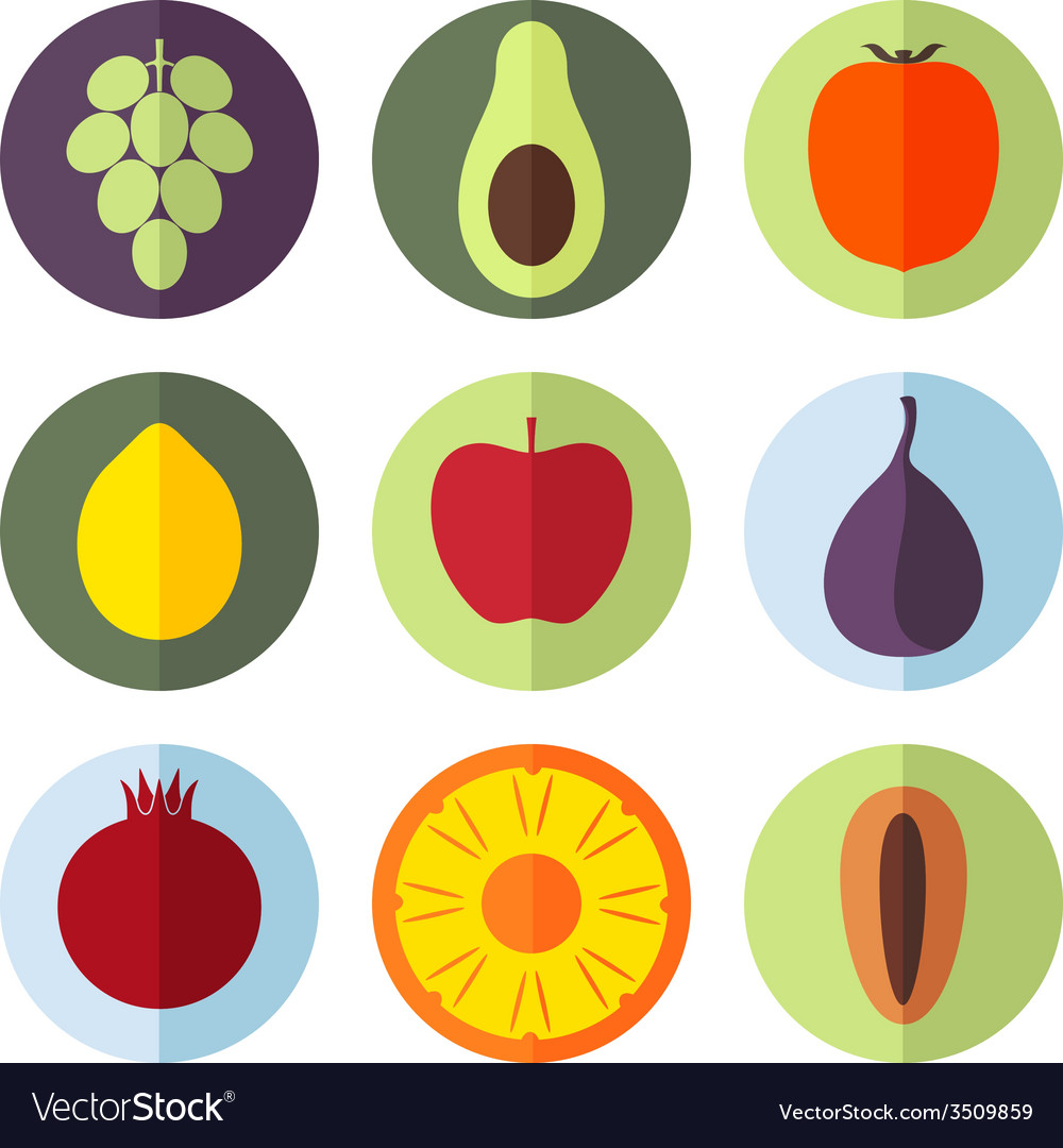 Fruits icon set vector | Price: 1 Credit (USD $1)
