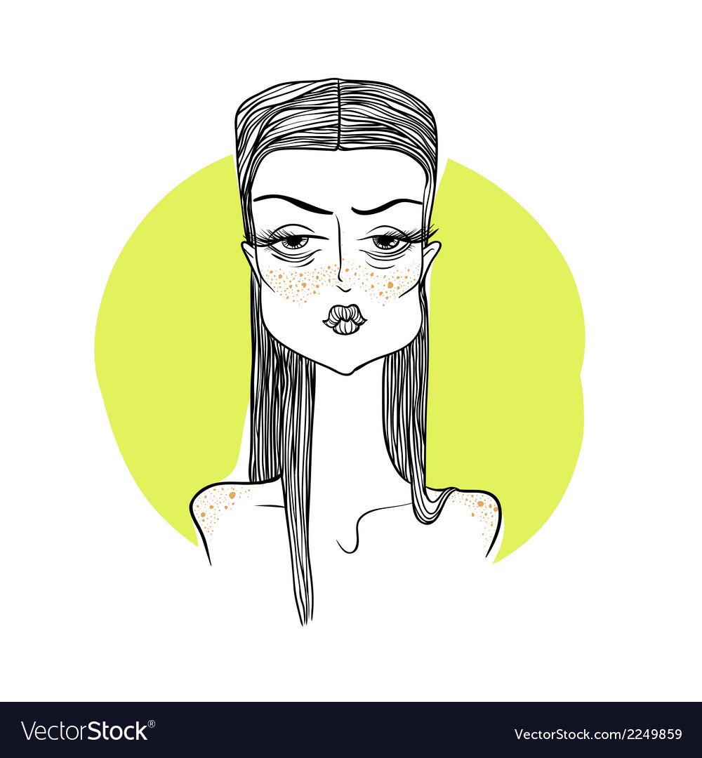 Girl with freckles on a yellow backgr vector | Price: 1 Credit (USD $1)