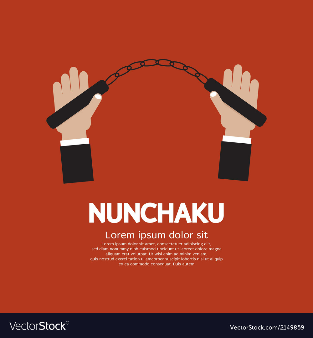 Hand holding a nunchaku vector | Price: 1 Credit (USD $1)