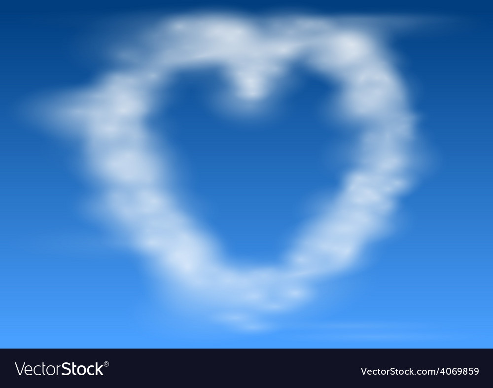 Heart shaped clouds vector | Price: 1 Credit (USD $1)