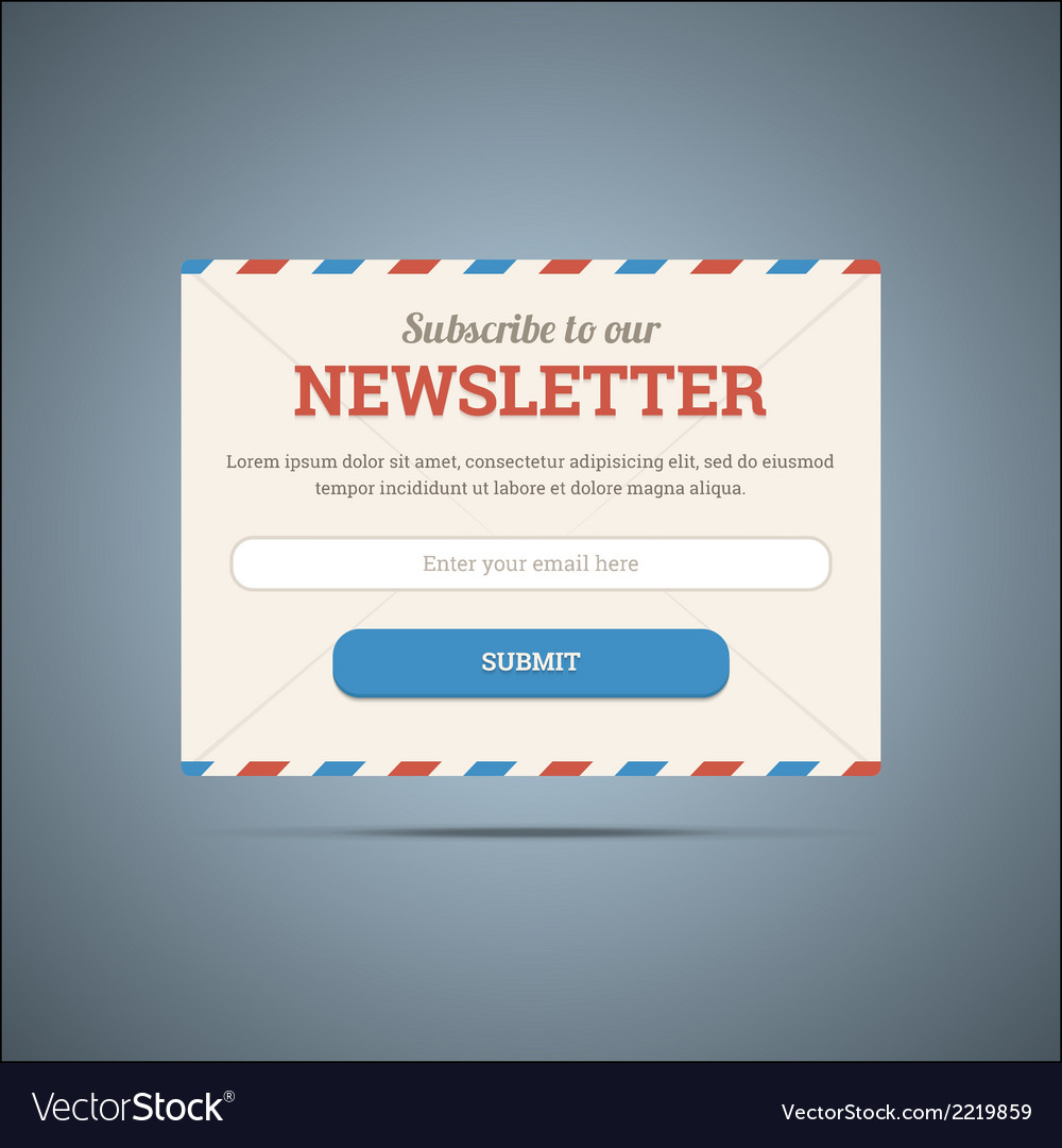 Newsletter subscribe form for web and mobile vector | Price: 1 Credit (USD $1)