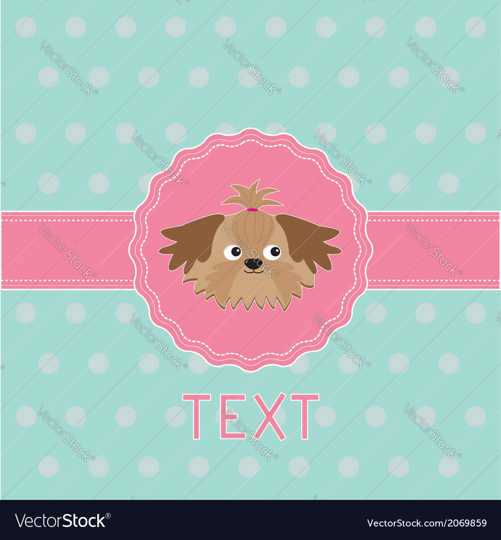 Pink ribbon and label with shih tzu dog card vector | Price: 1 Credit (USD $1)