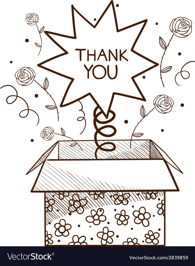 Present box with thank you sign vector | Price: 1 Credit (USD $1)