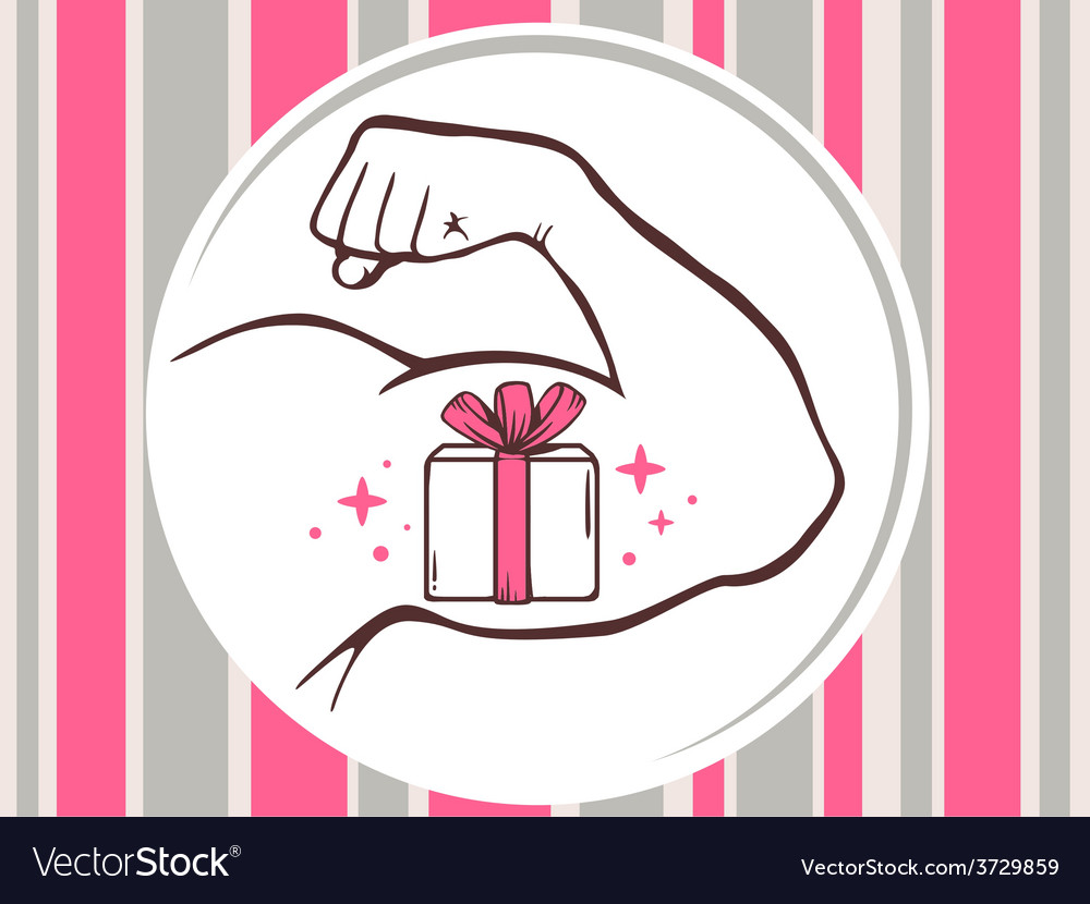 Strong man hand with icon of gift box on vector | Price: 1 Credit (USD $1)