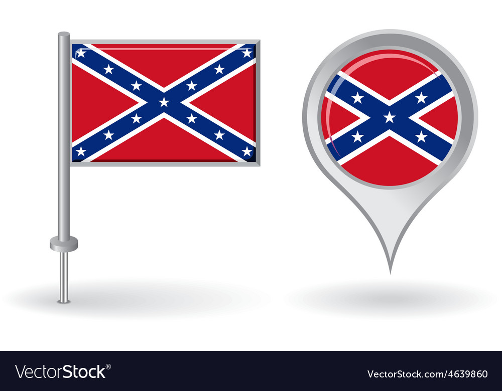 Confederate pin icon and map pointer flag vector | Price: 1 Credit (USD $1)