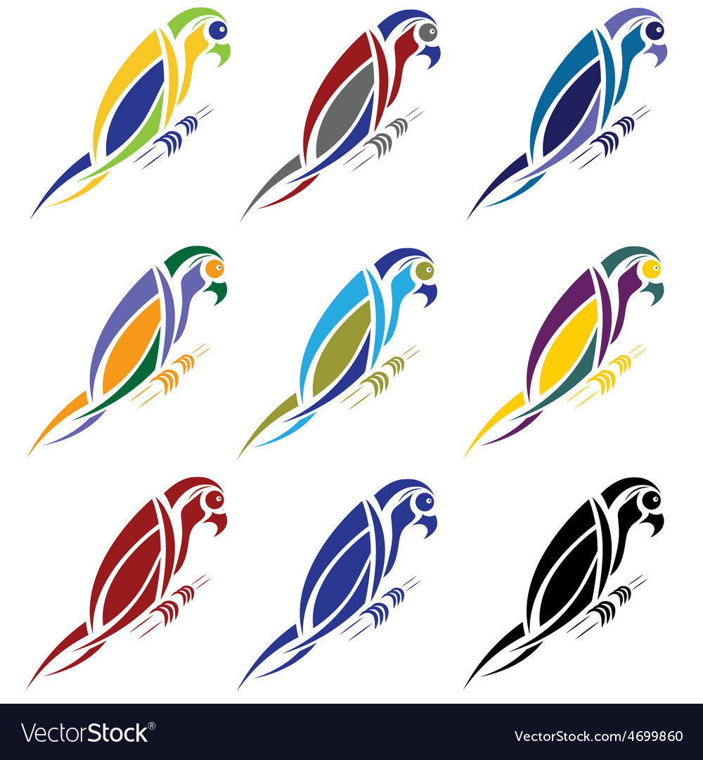 Set of abstract macaw parrot vector | Price: 1 Credit (USD $1)