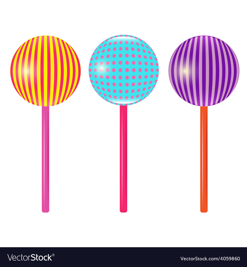 Set of colorful round lollipops vector | Price: 1 Credit (USD $1)