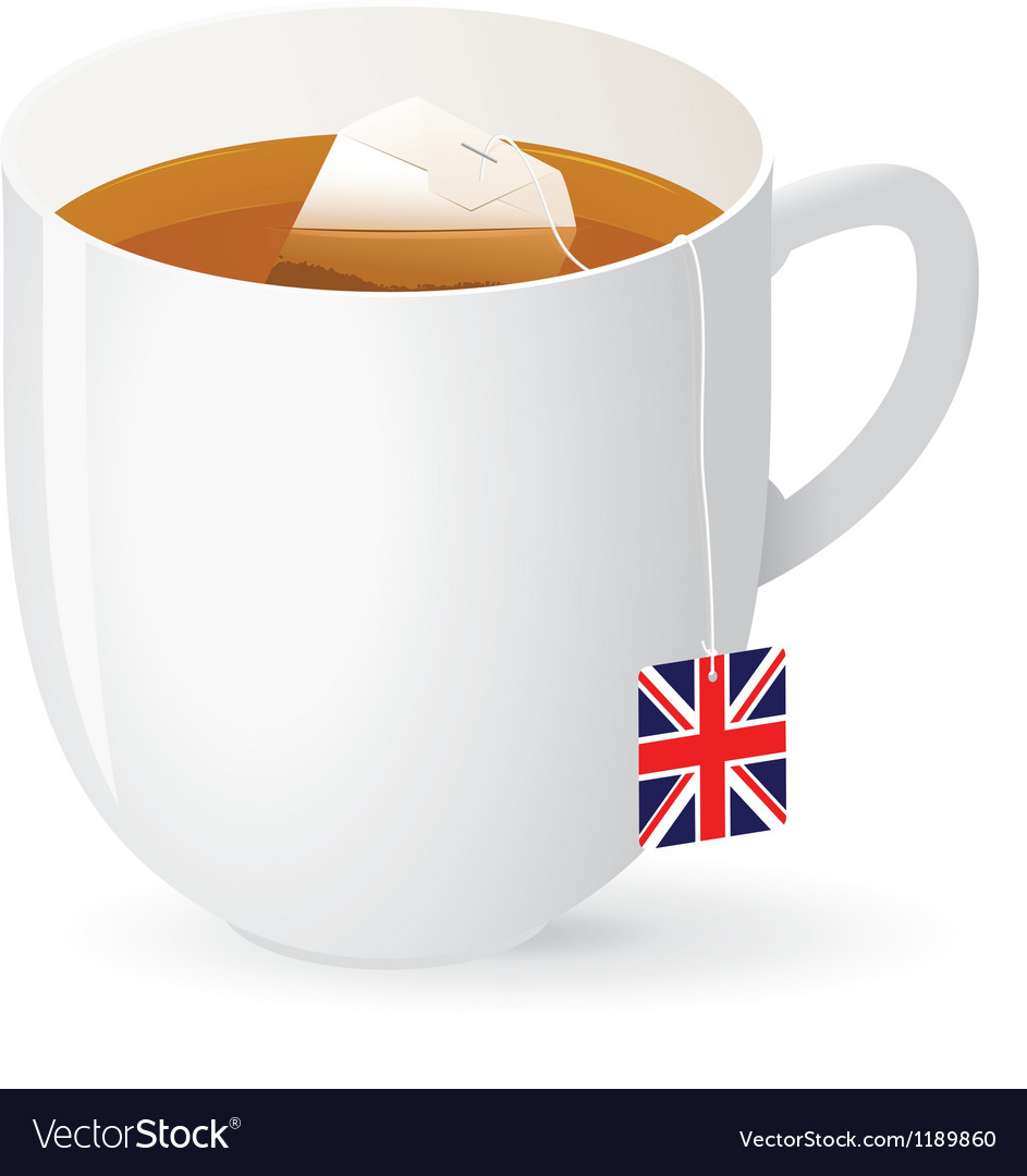Tea bag in white cup vector | Price: 1 Credit (USD $1)