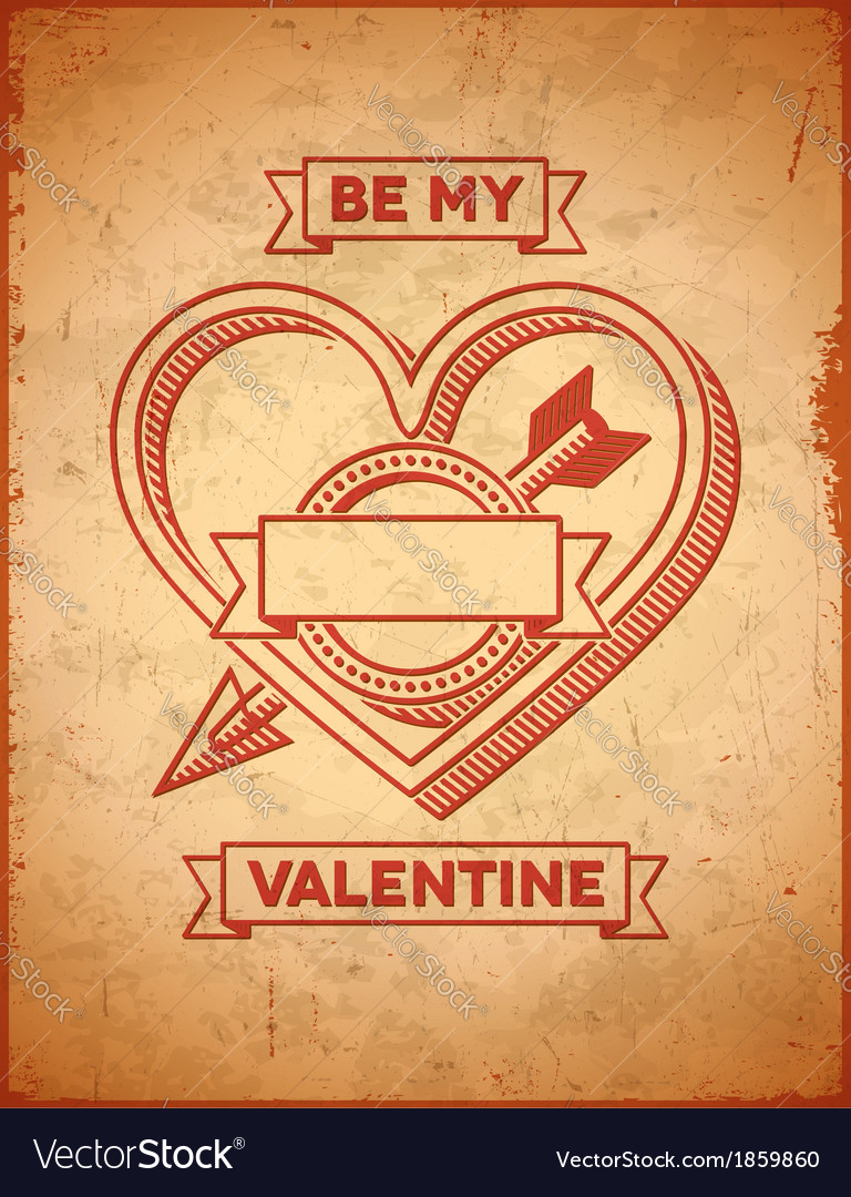 Valentines day card with heart and cupids arrow vector | Price: 1 Credit (USD $1)