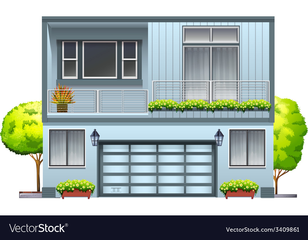 A house with balcony vector | Price: 3 Credit (USD $3)