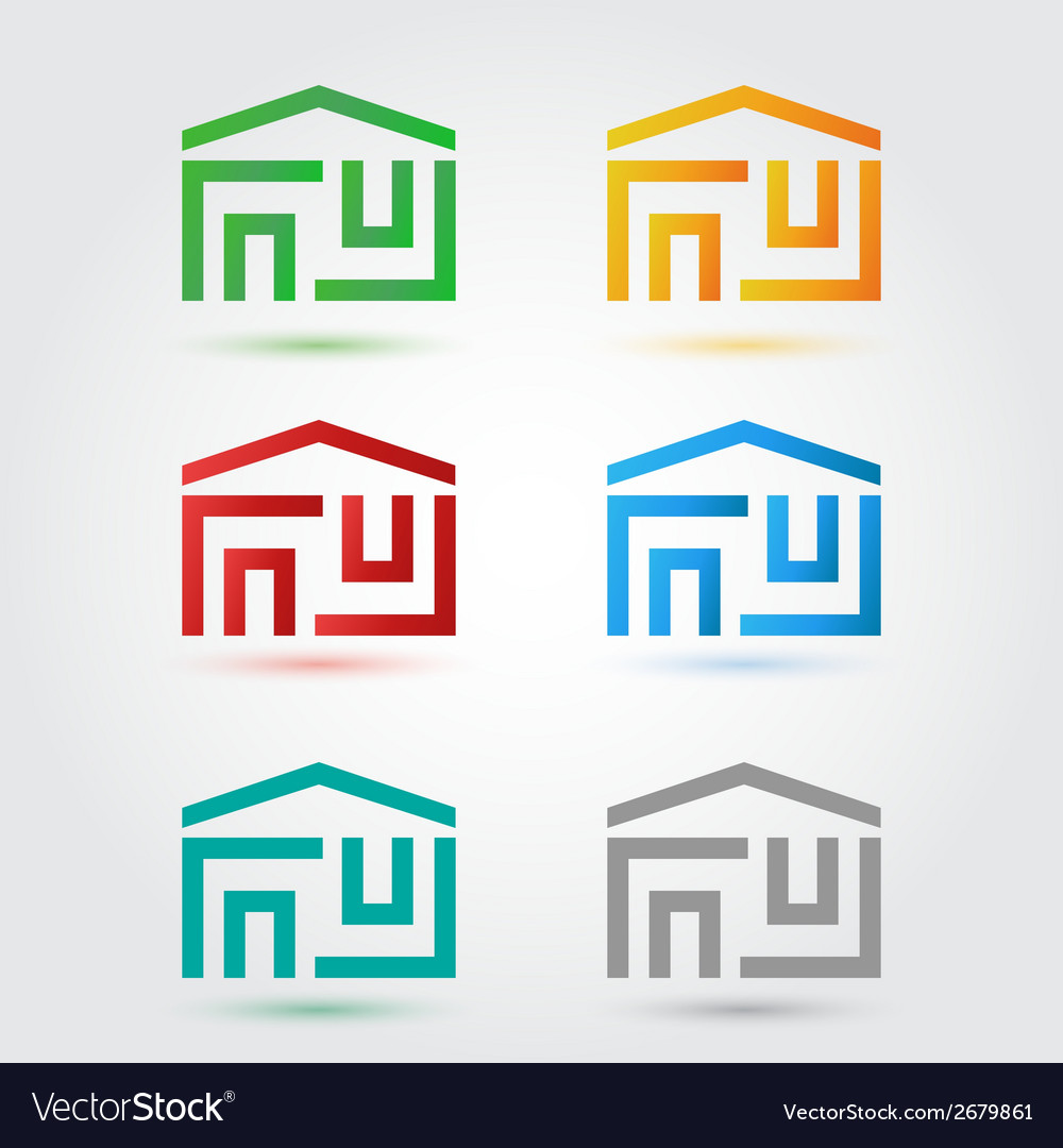 Abstract home icons set in different colors vector | Price: 1 Credit (USD $1)