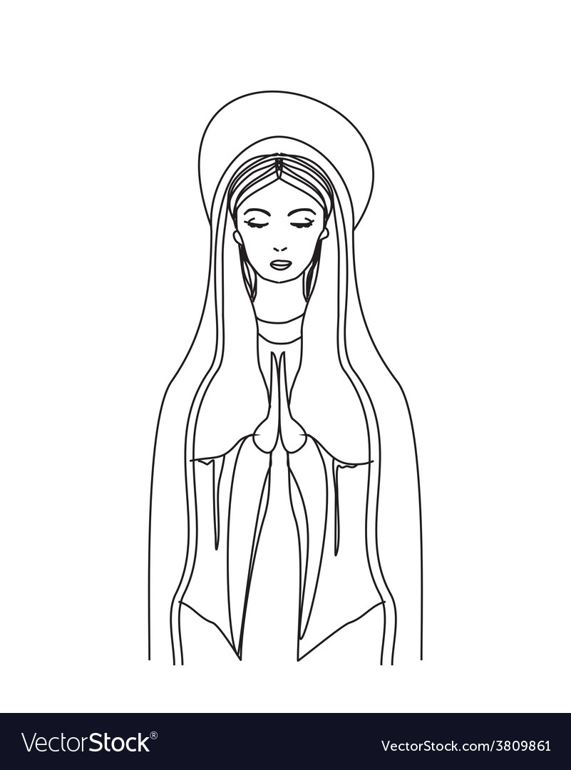 Blessed virgin mary in black and white contour vector | Price: 1 Credit (USD $1)