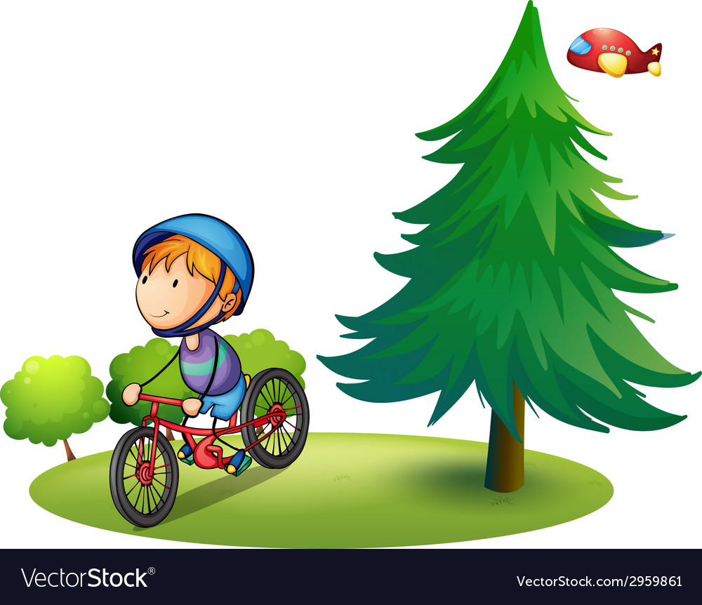 Boy and bike vector | Price: 1 Credit (USD $1)