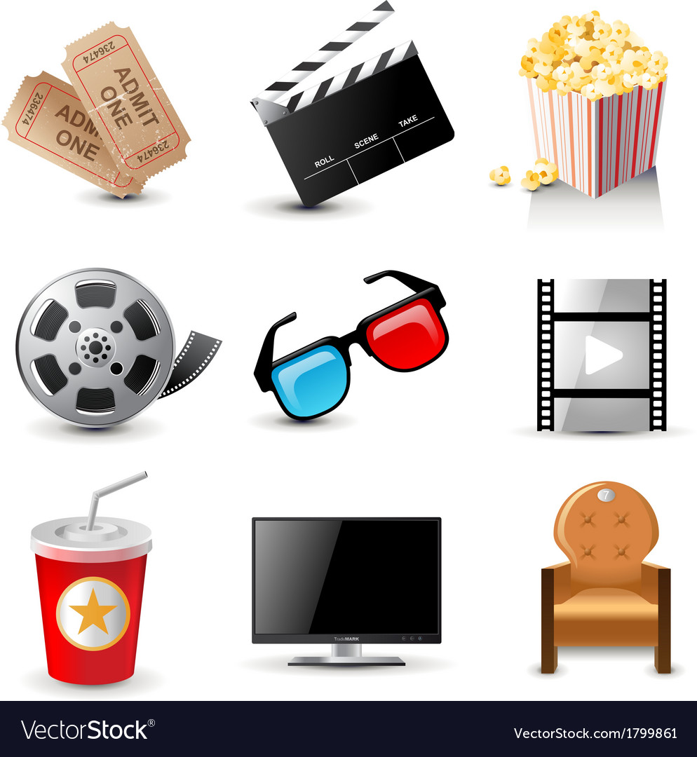 Cinema icons vector | Price: 3 Credit (USD $3)