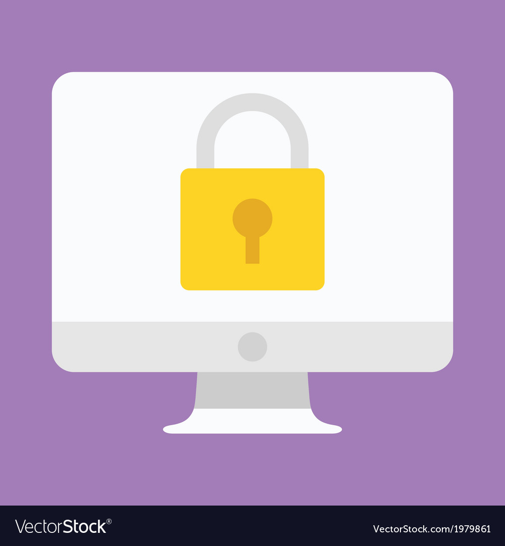 Computer display security icon vector | Price: 1 Credit (USD $1)