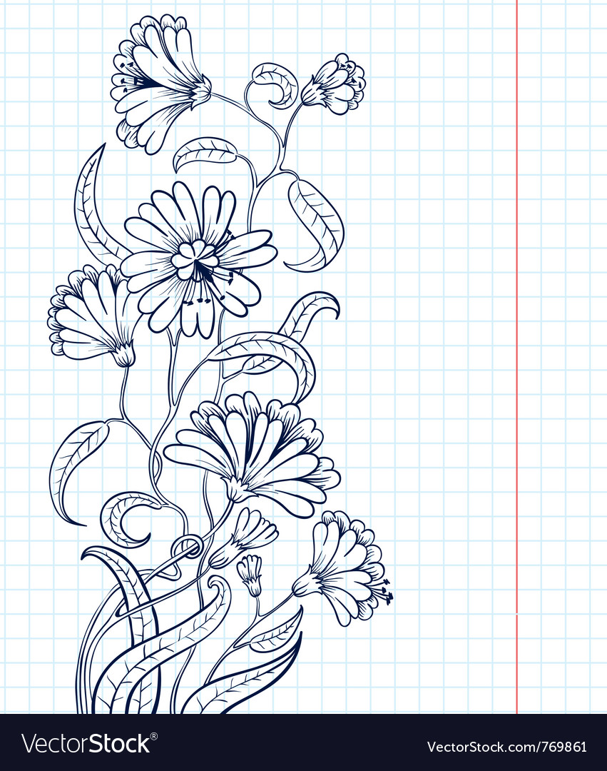 Doodle floral sketchy frame vector | Price: 1 Credit (USD $1)
