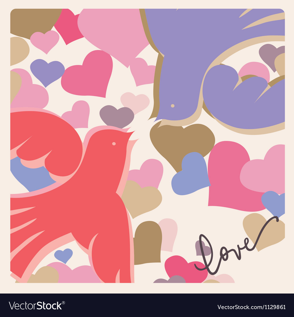 Kissing birds valentine poster vector   Price: 1 Credit (USD $1)