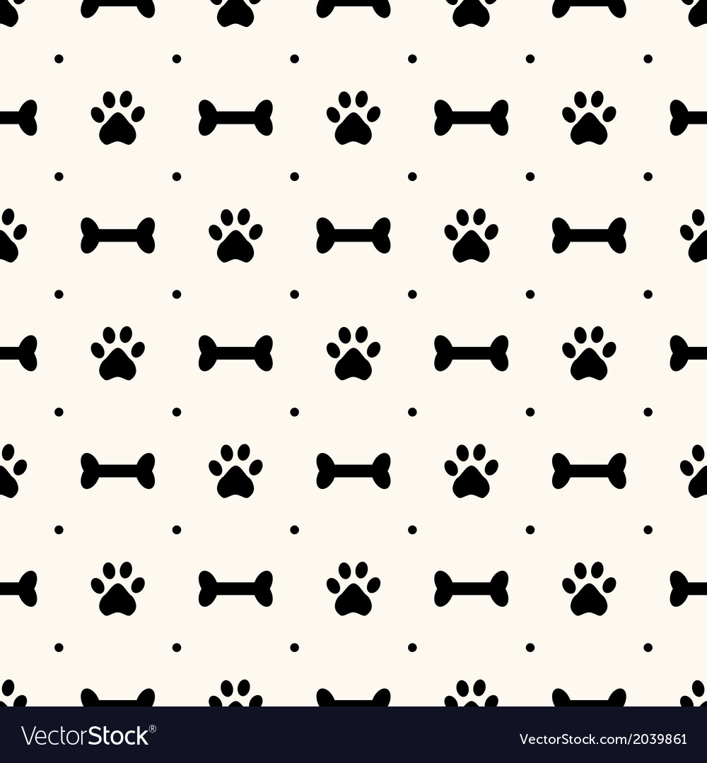Seamless animal pattern of paw footprint and bone vector | Price: 1 Credit (USD $1)