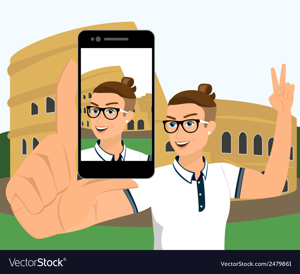 Selfie of hipster wearing in rome vector | Price: 1 Credit (USD $1)