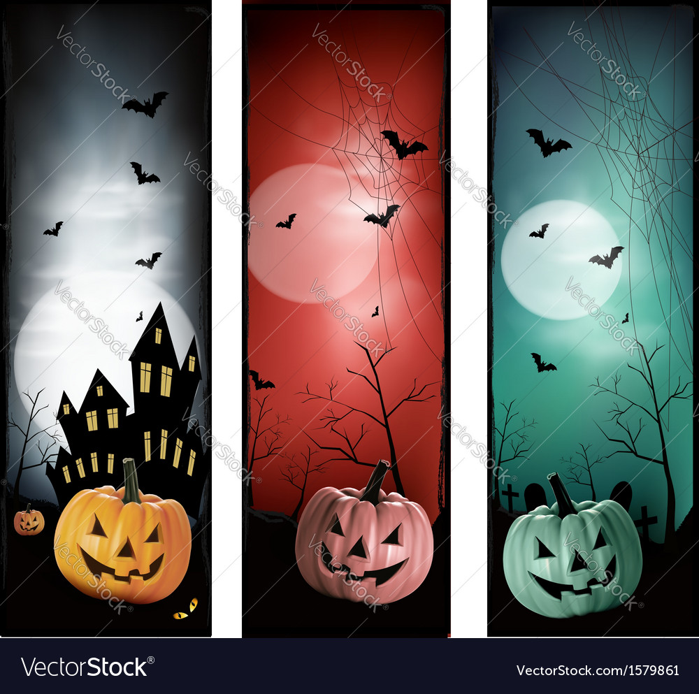 Set of holiday halloween banners vector   Price: 1 Credit (USD $1)