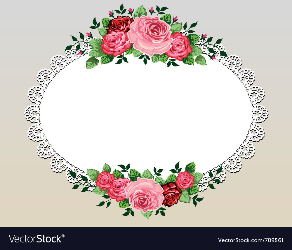 Vintage roses bouquet frame vector | Price: 1 Credit (USD $1)