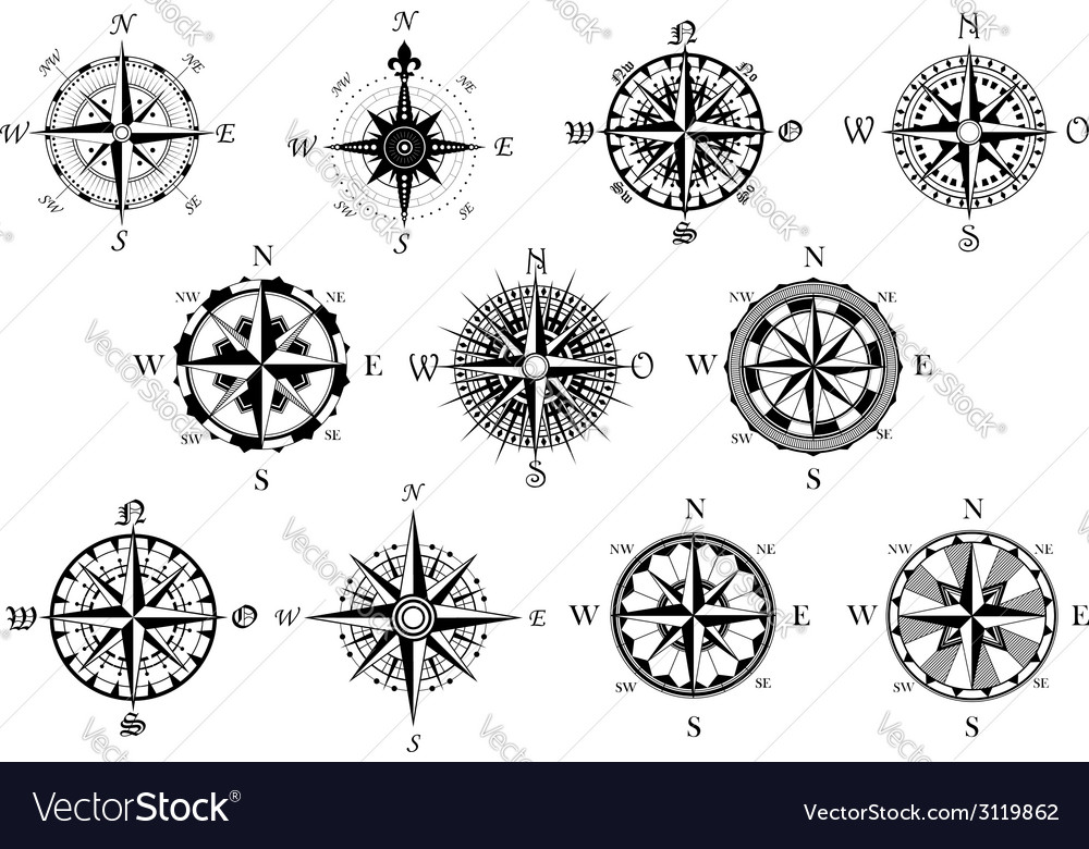 Antique compasses symbols set vector | Price: 1 Credit (USD $1)
