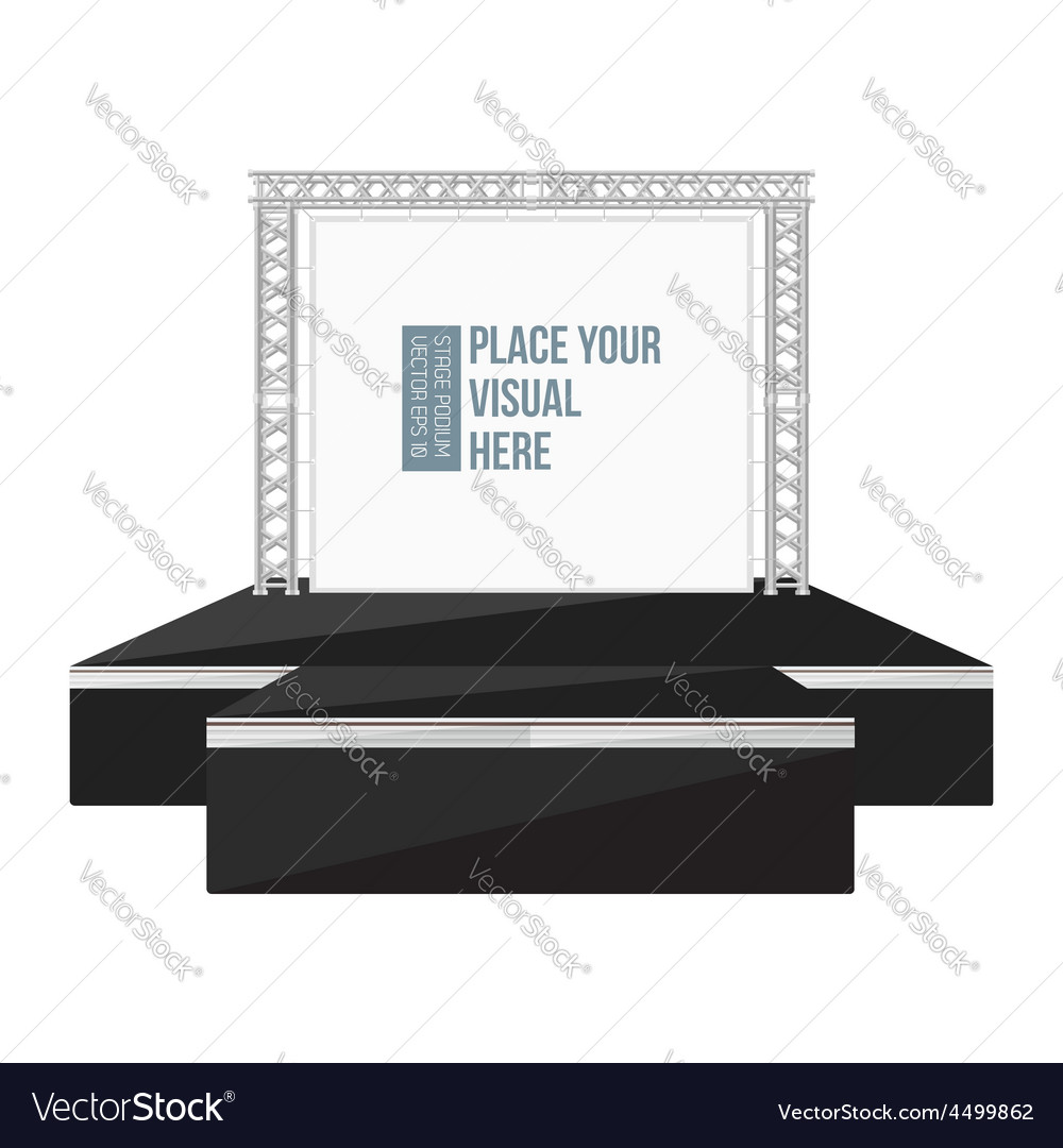 Black color flat style high podium stage with vector | Price: 1 Credit (USD $1)