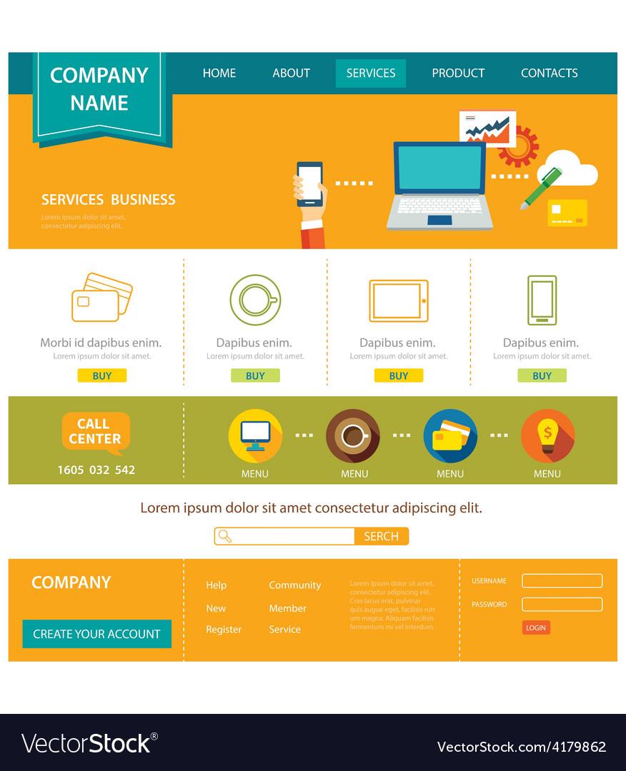 Business website template flat design vector | Price: 1 Credit (USD $1)