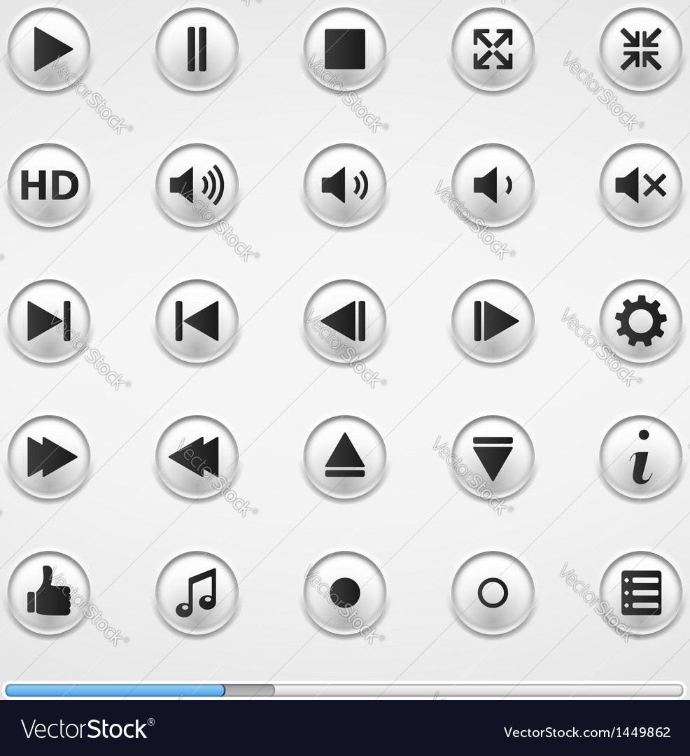 Buttons for media player vector | Price: 1 Credit (USD $1)