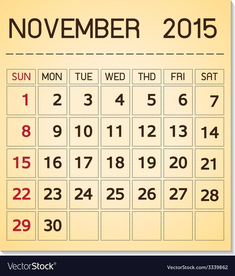 Calendar 2015 11 november vector | Price: 1 Credit (USD $1)