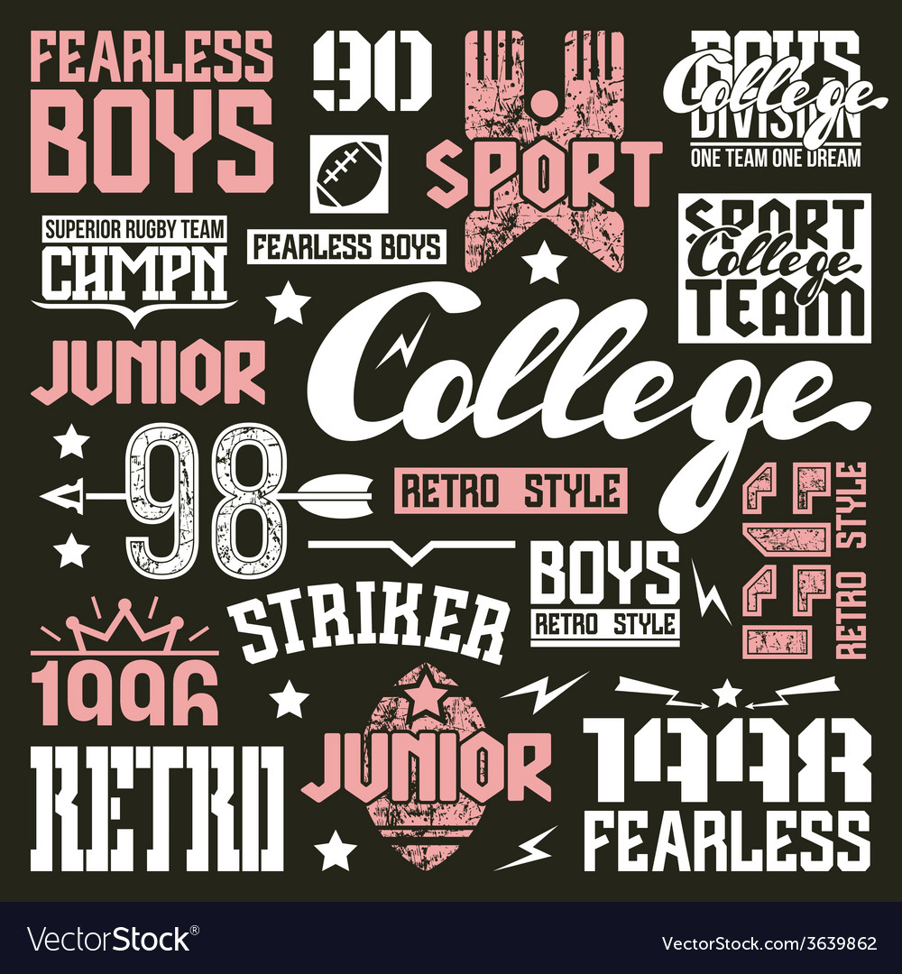 College rugby team design elements vector | Price: 3 Credit (USD $3)