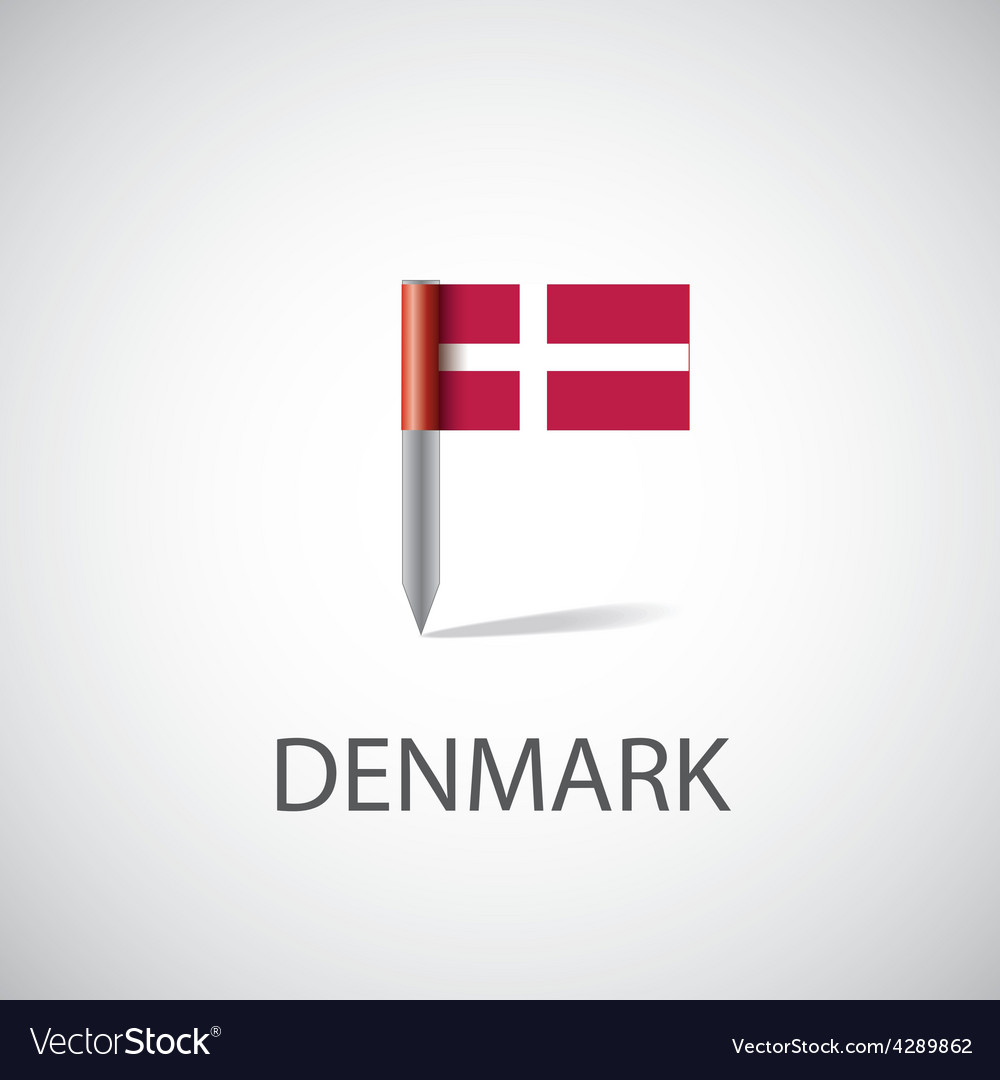 Denmark flag pin vector | Price: 1 Credit (USD $1)