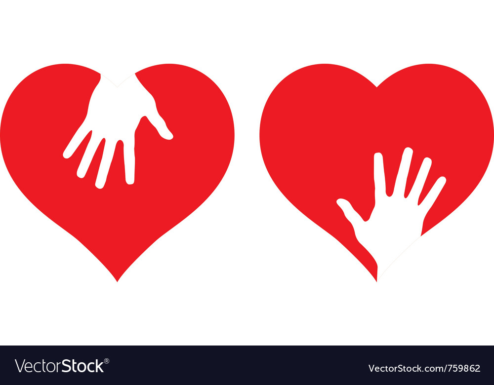 Hearts with helping hands vector | Price: 1 Credit (USD $1)