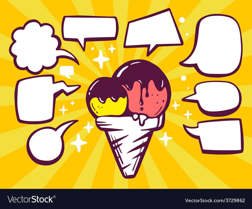 Ice cream with speech comics bubbles on y vector   Price: 1 Credit (USD $1)