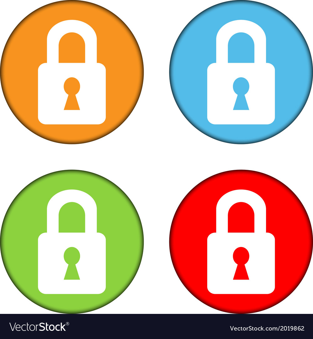 Lock button set vector | Price: 1 Credit (USD $1)
